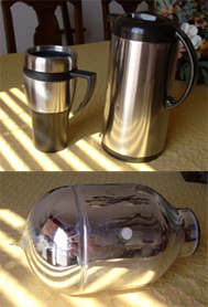An insulated coffee mug, thermos container, and thermos