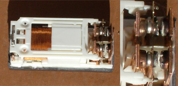 "Bad relay cut open. (The relay is 1 1/8"" or 28mm long.) Look at the wear on those contacts!"